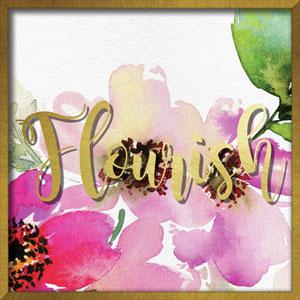 Flourish Watercolor Peony 16 In. Shadowbox Wall Art