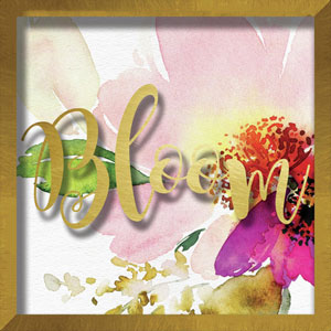 Bloom Watercolor Peony Small Format 10 In. Shadowbox Wall Art