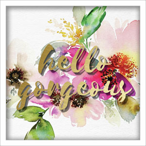 Hello Gorgeous Watercolor Peonies 12 In. Shadowbox Wall Art