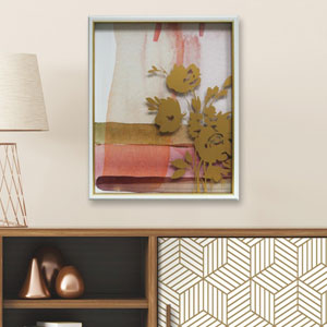 Pink Abstract Watercolor W. Printed Peony 16 x 20 In. Shadowbox Wall Art
