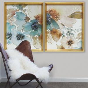 Watercolor Peonies Blue 11 x 14 In. Framed Wall Art