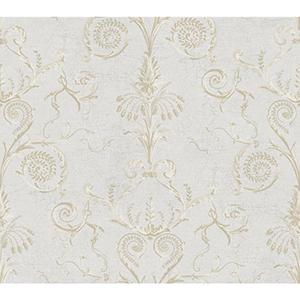 Ashford Black, White Light Gray, Cream, Beige and Medium Brown Wallpaper