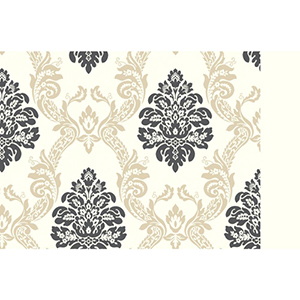 Ashford, White Cream, Tan and Black Wallpaper