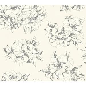 Ashford Black, Warm White and Lead Gray Wallpaper