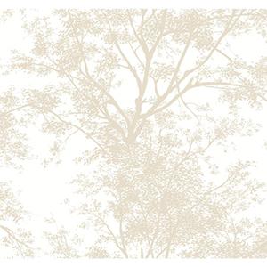 Ashford Black, White and Tan Tree Silhouette Wallpaper