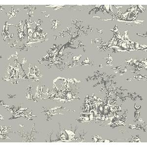 Ashford Black, White Stone Gray, Buttermilk and Lead Gray Wallpaper
