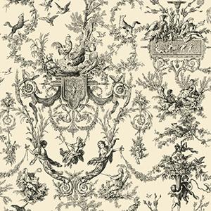 Ashford, White Ivory and Black Wallpaper