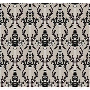 Ashford, White Silver Satin and Black Onyx Wallpaper