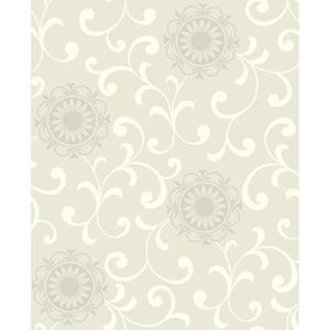 Ashford Black, White Beige, Warm Cream and Rainy Day Gray Wallpaper