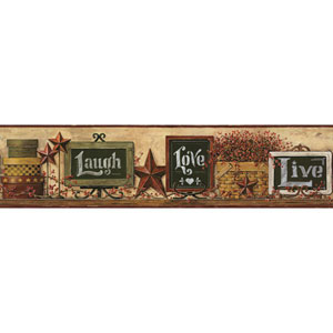 Country Keepsakes Gold and Green Country Chalkboard Shelf Border
