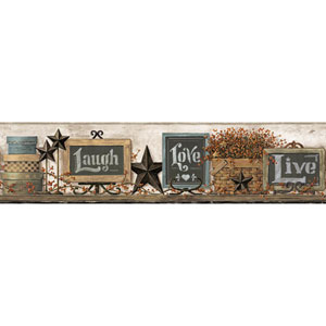Country Keepsakes Cream and Brown Country Chalkboard Shelf Border