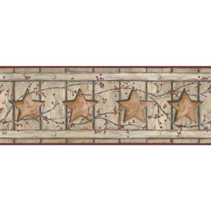 Country Keepsakes Beige and Taupe Country Cutout Star Border