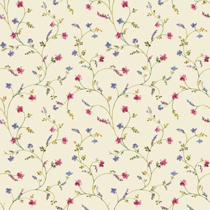 Country Keepsakes Cream and Green Country Floral Trail Wallpaper