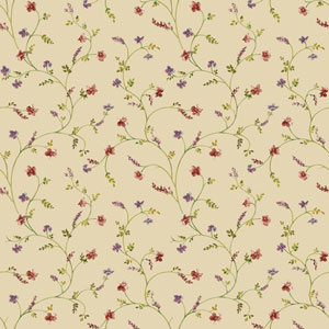 Country Keepsakes Ecru and Green Country Floral Trail Wallpaper