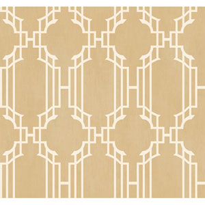 Veranda Shimmering Champagne and White Lattice Sidewall Wallpaper