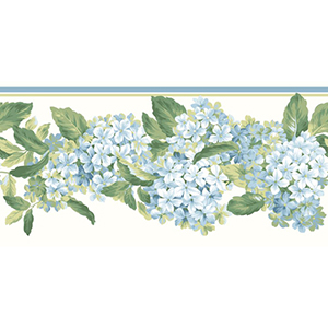 Inspired by Color Off White Hydrangea Border Wallpaper