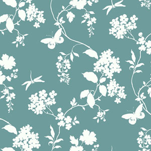 Silhouettes Trailing Floral and Vines Wallpaper