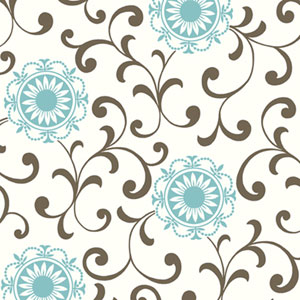 Silhouettes Daisy Medallion with Scrolls Wallpaper