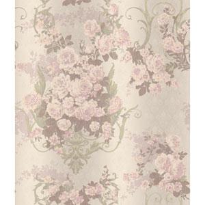 Charleston Pale Green Bouquet Damask Wallpaper