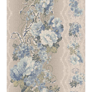 Charleston Metalluic Grey and Blue Floral Stripe Wallpaper