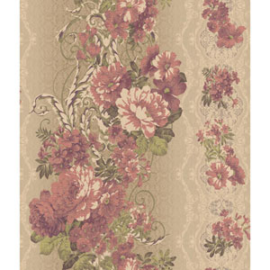 Charleston Beige and Red Floral Stripe Wallpaper