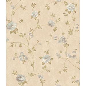 Charleston Beige Satin Floral Vine Wallpaper