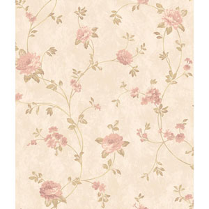 Charleston Beige Satin and Pink Floral Vine Wallpaper
