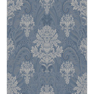 Charleston Blue and Grey Damask Paisley Wallpaper