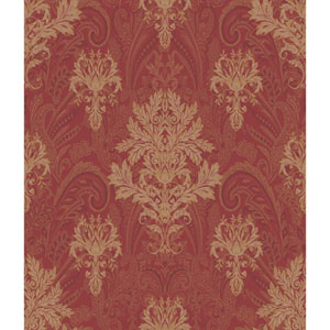 Charleston Red and Gold Damask Paisley Wallpaper