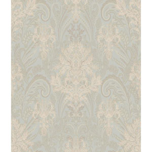 Charleston Pale Aqua and Gold Damask Paisley Wallpaper