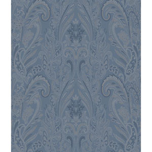 Charleston Blue Paisley Texture Wallpaper