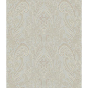 Charleston Aqua and Gold Paisley Texture Wallpaper