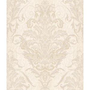 Charleston Pearl Cream and Tan Ombre Damask Stripe Wallpaper