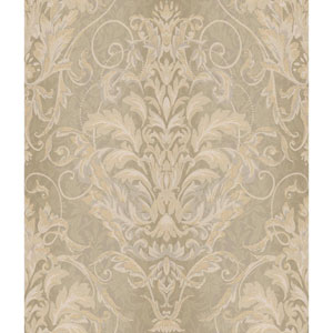 Charleston Metallic Gold and Taupe Ombre Damask Stripe Wallpaper