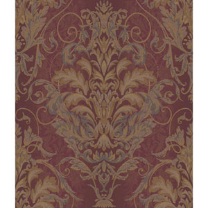 Charleston Maroon Satin and Gold Ombre Damask Stripe Wallpaper