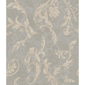 Charleston Grey and Tan Acanthus Wallpaper