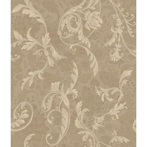 Charleston Taupe and Beige Acanthus Wallpaper