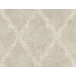 Charleston Pale Silver Green and Taupe Woven Trellis  Wallpaper