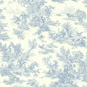 Inspired by Color Blue and White Champagne Toile Wallpaper