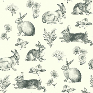 Inspired by Color Black and White Bunny Toile Wallpaper