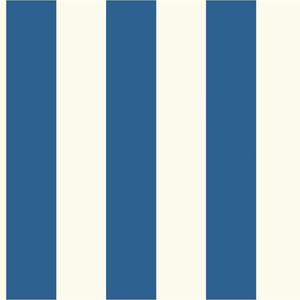 Ashford House Tropics Bright Blue and White 3-Inch Stripe Wallpaper