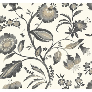 Ashford House Tropics Off-White and Grey Watercolor Jacobean Wallpaper