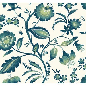 Ashford House Tropics Off-White and Dark Teal Watercolor Jacobean Wallpaper