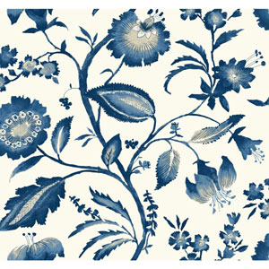 Ashford House Tropics Off-White and Blue Watercolor Jacobean Wallpaper