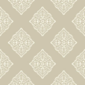 Ashford House Tropics Beige and White Henna Tile Wallpaper