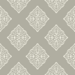 Ashford House Tropics Grey and White Henna Tile Wallpaper