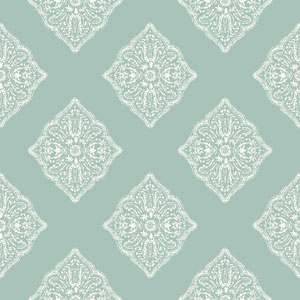 Ashford House Tropics Aqua and White Henna Tile Wallpaper