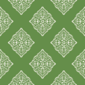 Ashford House Tropics Medium Green and White Henna Tile Wallpaper