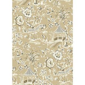 Ashford House Tropics Tan and Khaki Tahiti Scenic Wallpaper