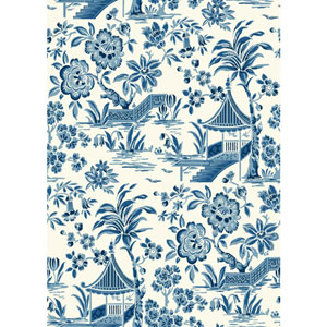 Ashford House Tropics White and Blue Tahiti Scenic Wallpaper